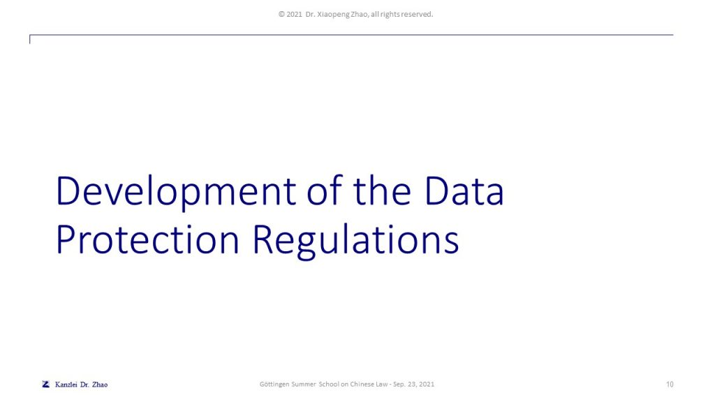 Development of the Data Protection Regulations