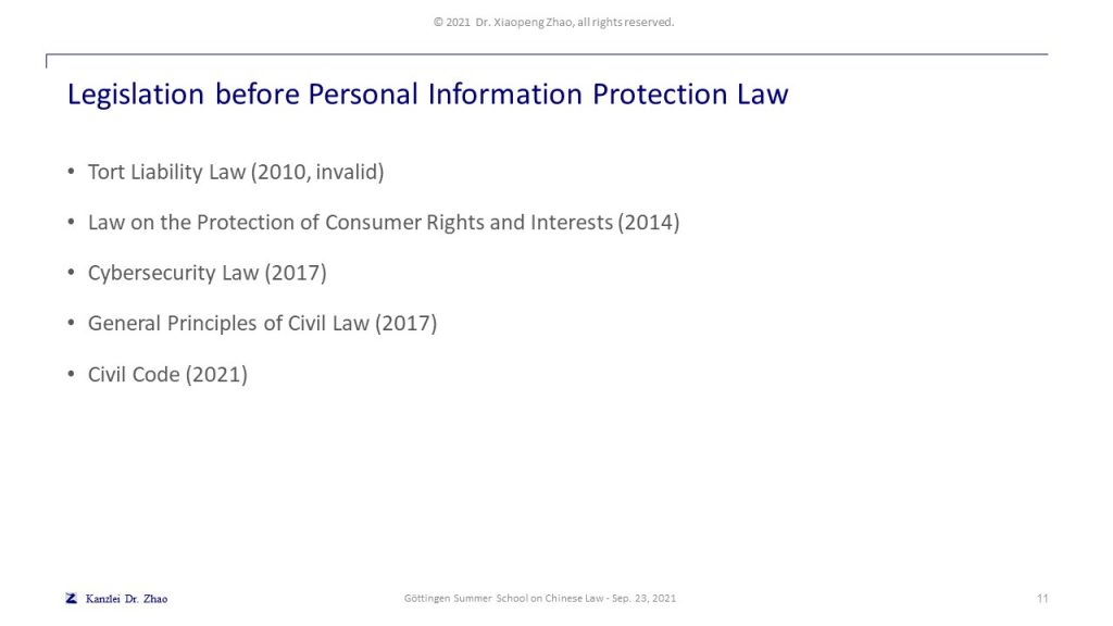 Legislation before Personal Information Protection Law