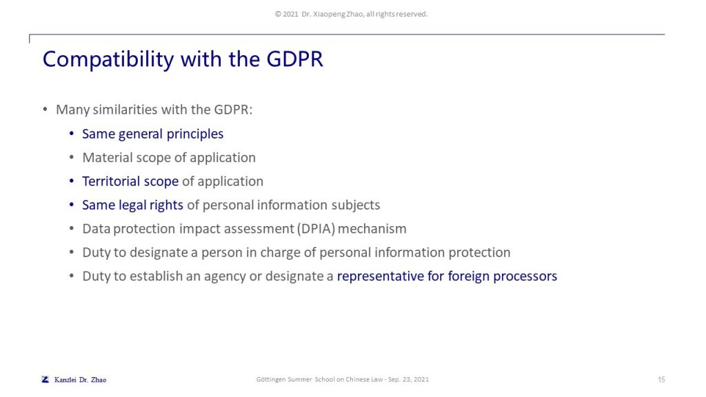 Compatibility with the GDPR