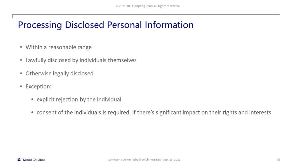 Processing Disclosed Personal Information
