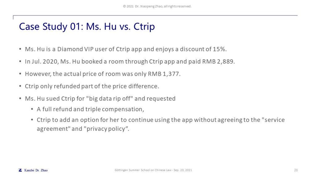 Case Study 01: Ms. Hu vs. Ctrip