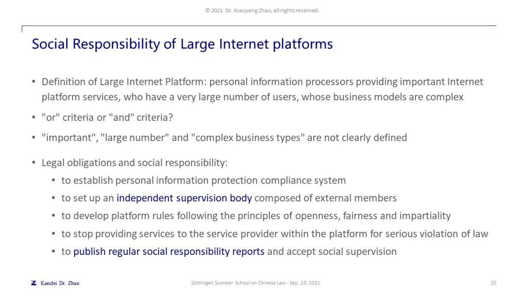 Social Responsibility of Large Internet platforms