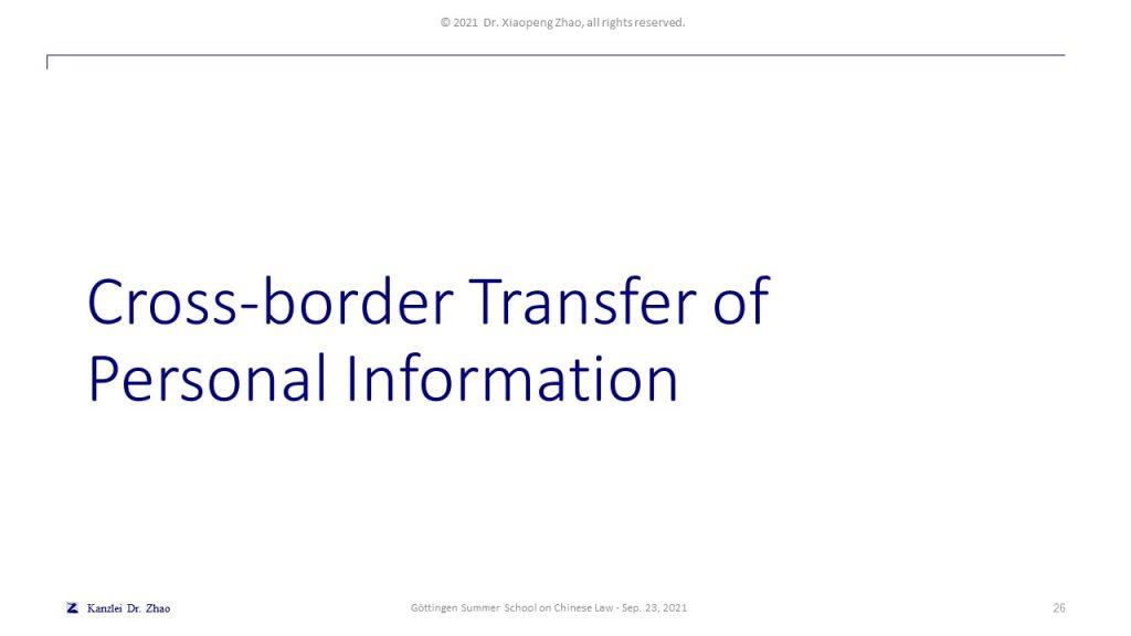 Cross-border Transfer of Personal Information