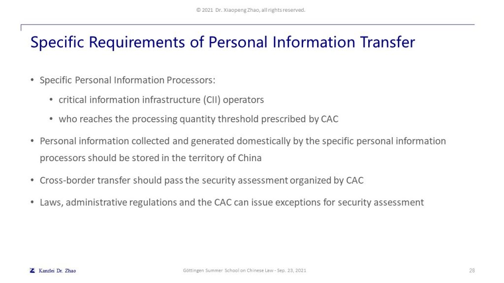 Specific Requirements of Personal Information Transfer