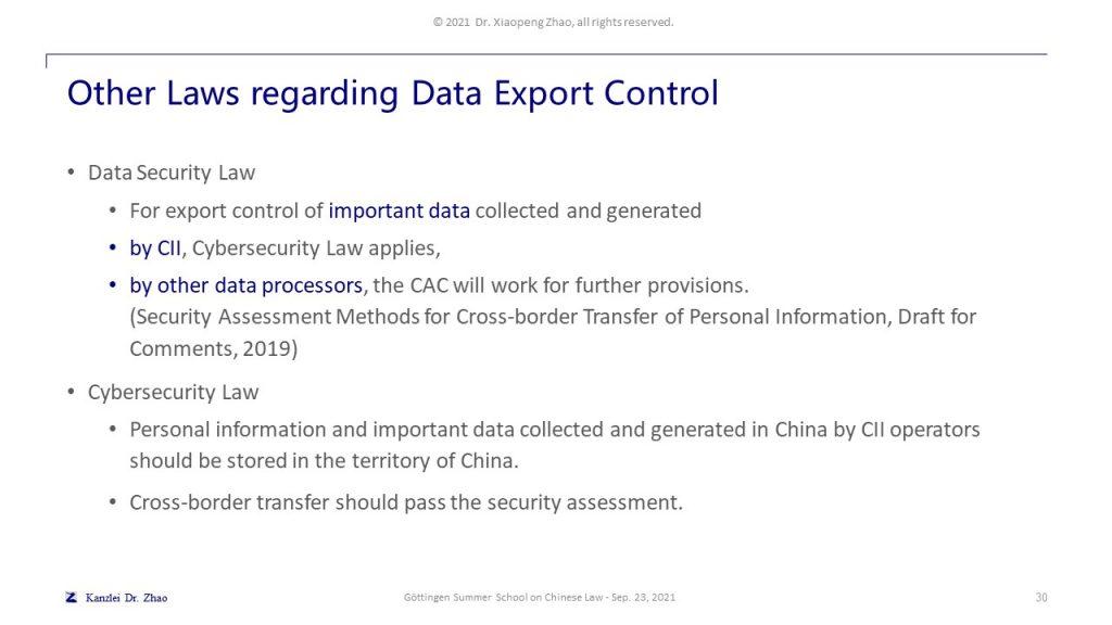 Other Laws regarding Data Export Control