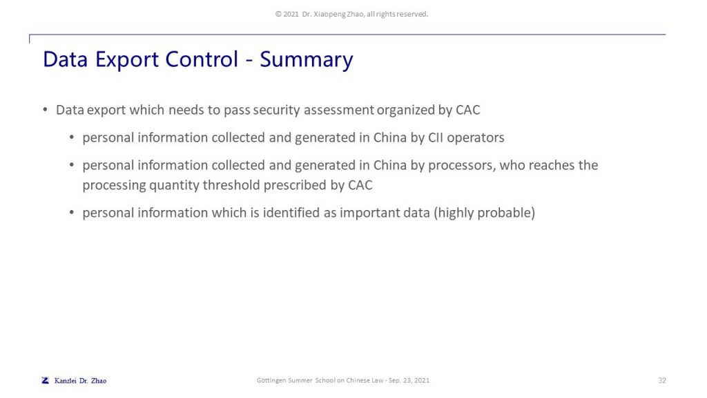 Data Export Control - Summary