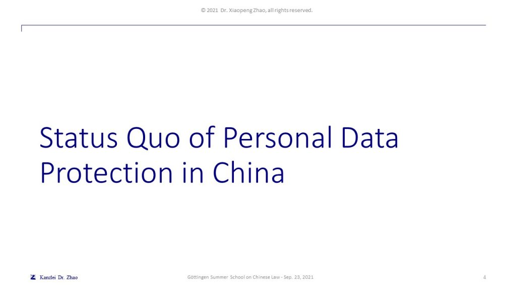 Status Quo of Personal Data Protection in China
