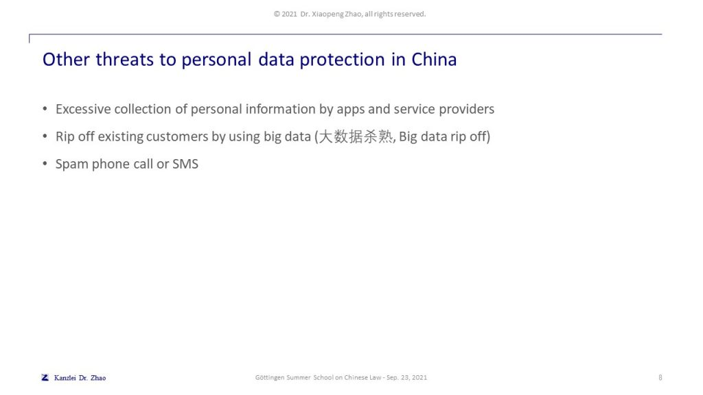 Other threats to personal data protection in China